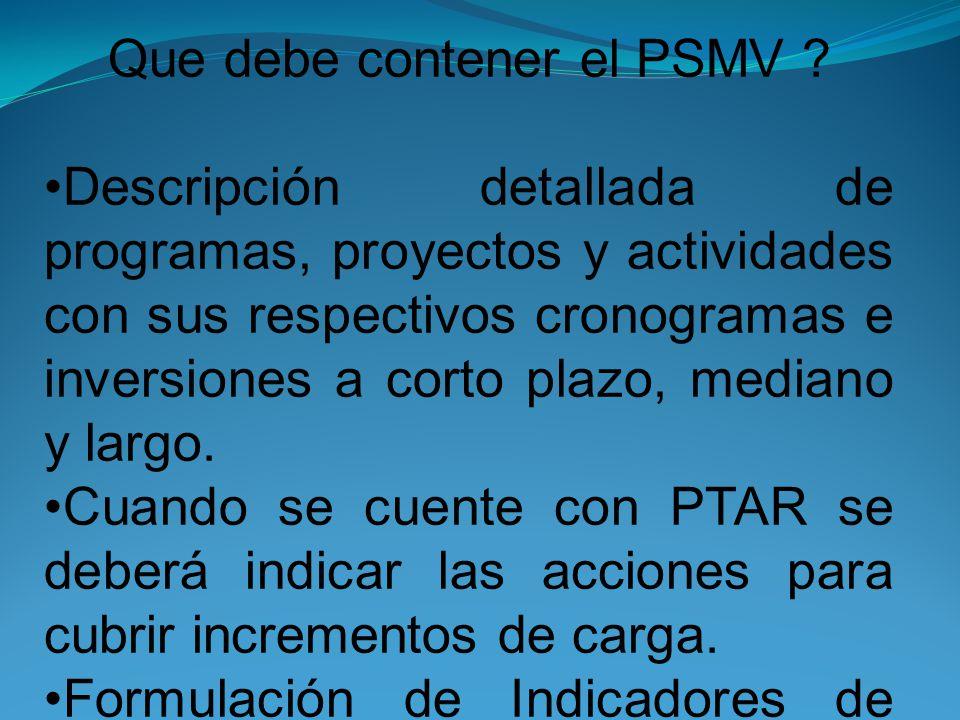 Que debe contener el PSMV .