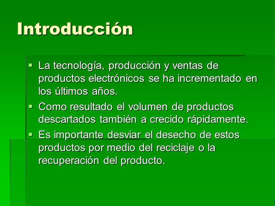 Introducción La tecnología, producción y ventas de productos electrónicos se ha incrementado en los últimos años.