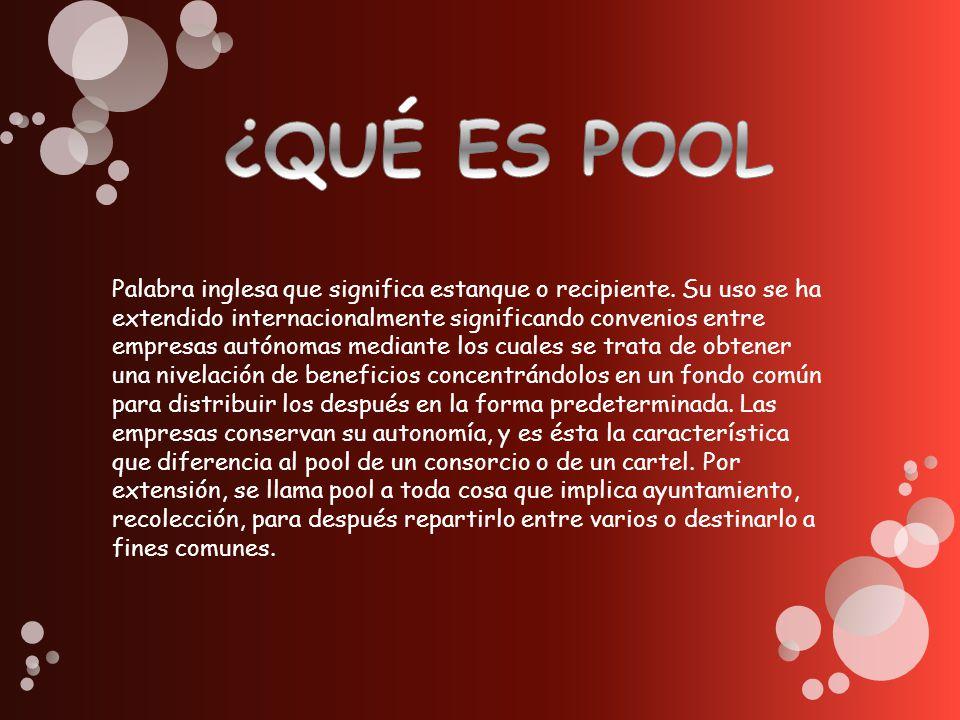 El pool es practica didáctica para el trabajo y consiste en unas practicas que hace los estudiantes dentro del SENA durante tres meses antes de ir a la empresa eso se hace para que se vaya adactando a el trabajo (es como un trabajo social en el SENA)