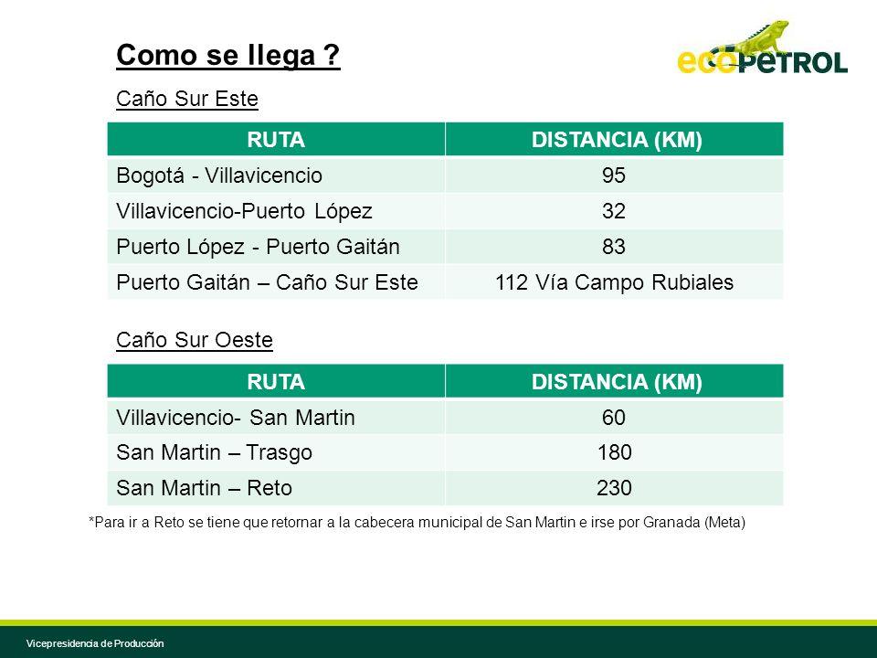 Vicepresidencia de Producción RUTA DISTANCIA (KM) Bogotá - Villavicencio95 Villavicencio-Puerto López32 Puerto López - Puerto Gaitán83 Puerto Gaitán –