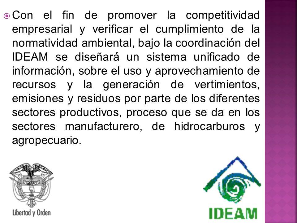 Con el fin de promover la competitividad empresarial y verificar el cumplimiento de la normatividad ambiental, bajo la coordinación del IDEAM se diseñ