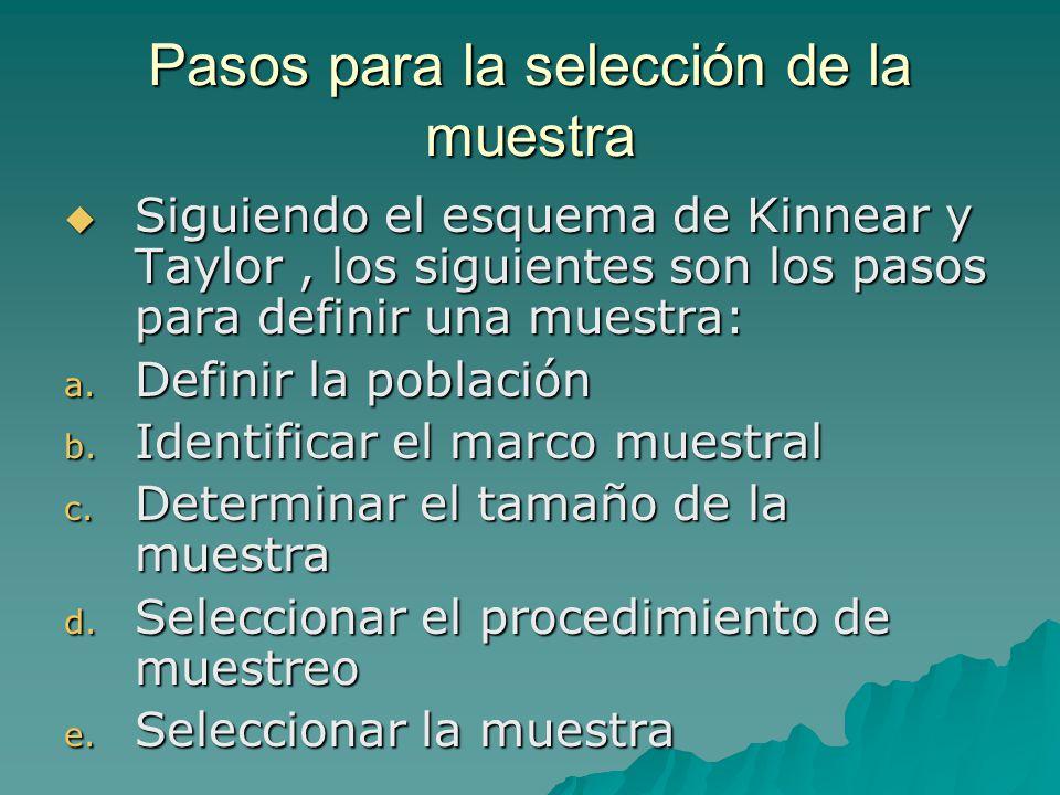 Pasos para la selección de la muestra Siguiendo el esquema de Kinnear y Taylor, los siguientes son los pasos para definir una muestra: Siguiendo el esquema de Kinnear y Taylor, los siguientes son los pasos para definir una muestra: a.