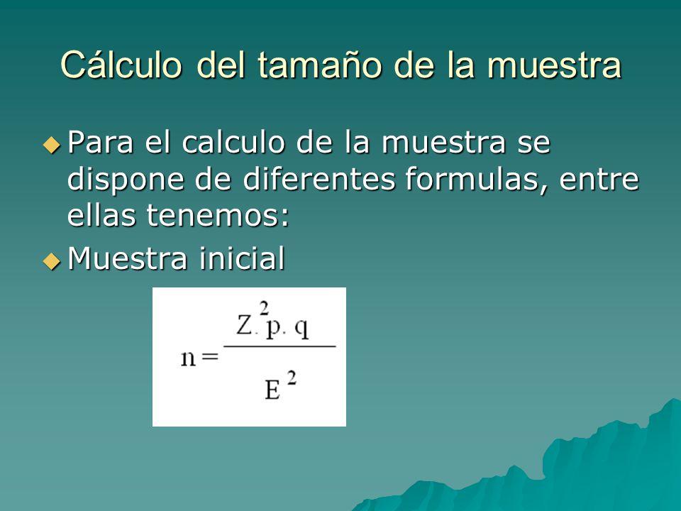 Cálculo del tamaño de la muestra Para el calculo de la muestra se dispone de diferentes formulas, entre ellas tenemos: Para el calculo de la muestra se dispone de diferentes formulas, entre ellas tenemos: Muestra inicial Muestra inicial