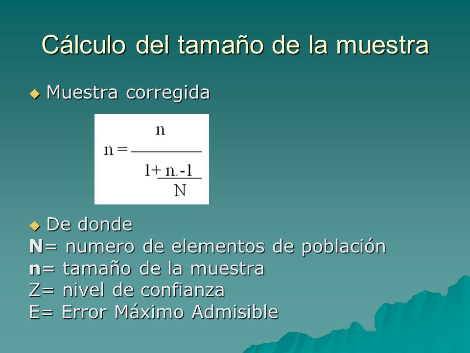 Cálculo del tamaño de la muestra Muestra corregida Muestra corregida De donde De donde N= numero de elementos de población n= tamaño de la muestra Z= nivel de confianza E= Error Máximo Admisible