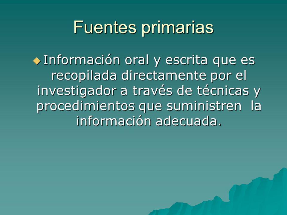 Fuentes primarias Información oral y escrita que es recopilada directamente por el investigador a través de técnicas y procedimientos que suministren la información adecuada.