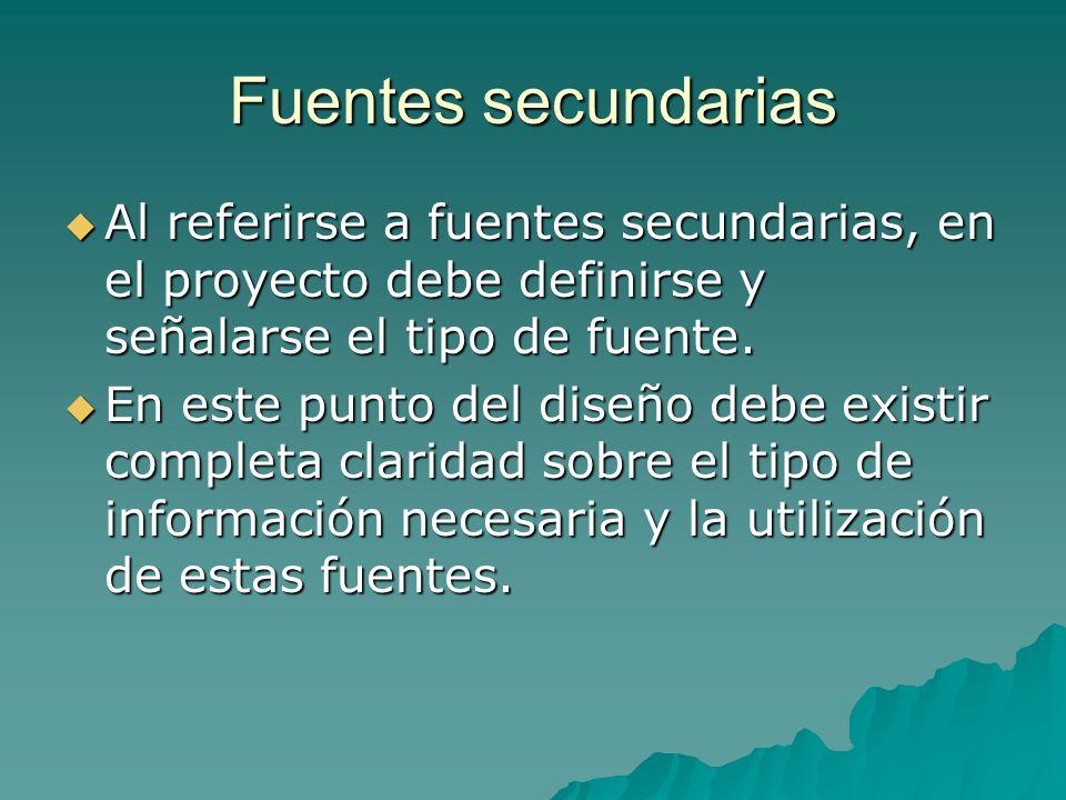 Fuentes secundarias Al referirse a fuentes secundarias, en el proyecto debe definirse y señalarse el tipo de fuente.