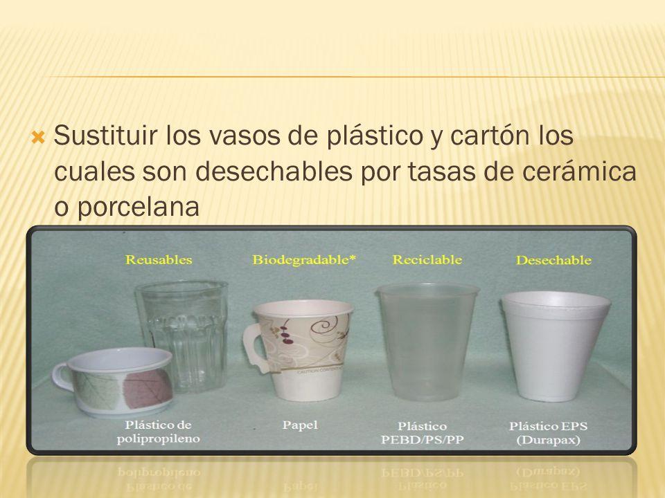 Sustituir los vasos de plástico y cartón los cuales son desechables por tasas de cerámica o porcelana