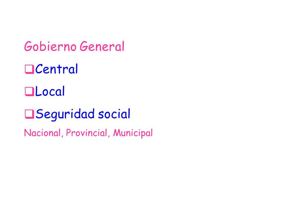 Gobierno General Central Local Seguridad social Nacional, Provincial, Municipal