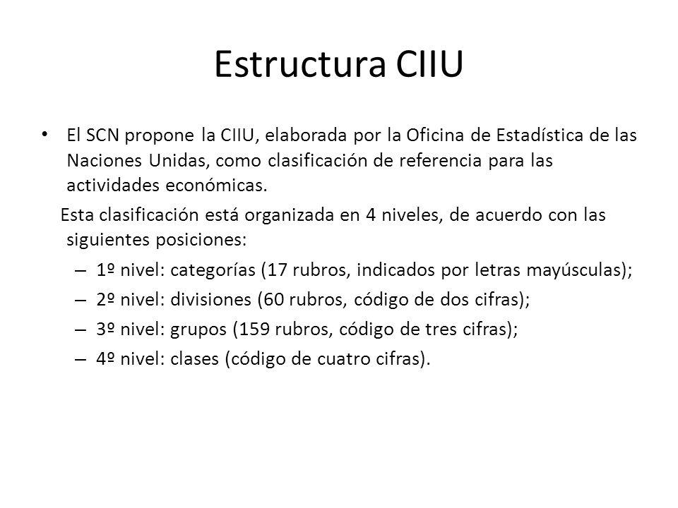 Estructura CIIU El SCN propone la CIIU, elaborada por la Oficina de Estadística de las Naciones Unidas, como clasificación de referencia para las actividades económicas.
