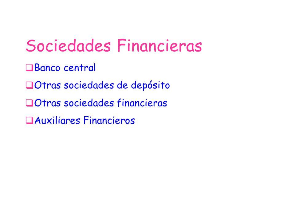 Sociedades Financieras Banco central Otras sociedades de depósito Otras sociedades financieras Auxiliares Financieros