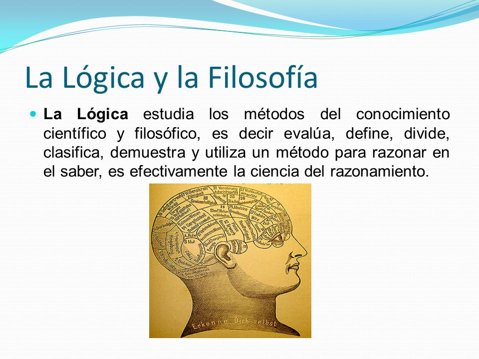 La Lógica y la Filosofía La Lógica estudia los métodos del conocimiento científico y filosófico, es decir evalúa, define, divide, clasifica, demuestra