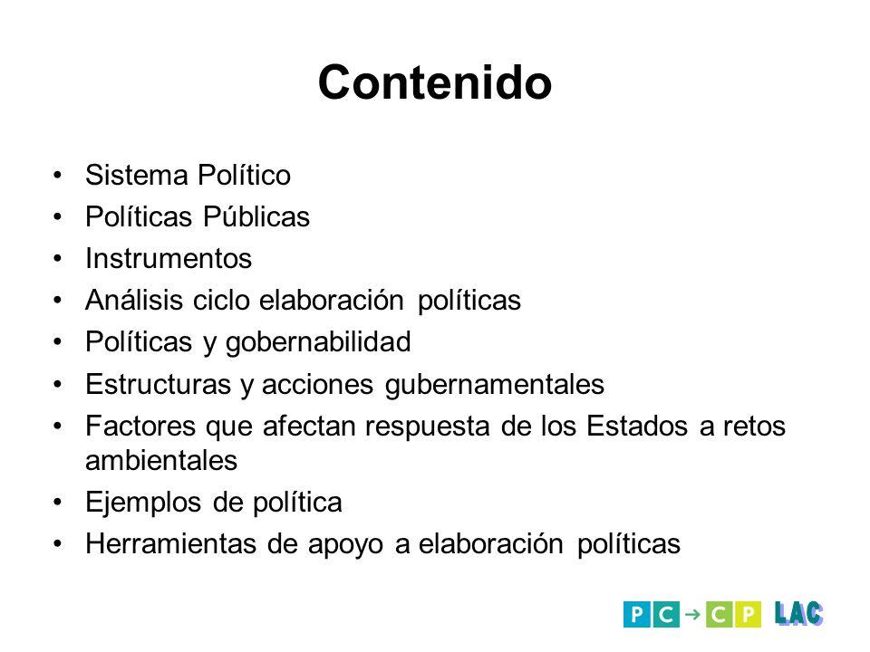 Contenido Sistema Político Políticas Públicas Instrumentos Análisis ciclo elaboración políticas Políticas y gobernabilidad Estructuras y acciones gube