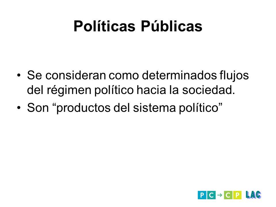 Políticas Públicas Se consideran como determinados flujos del régimen político hacia la sociedad. Son productos del sistema político