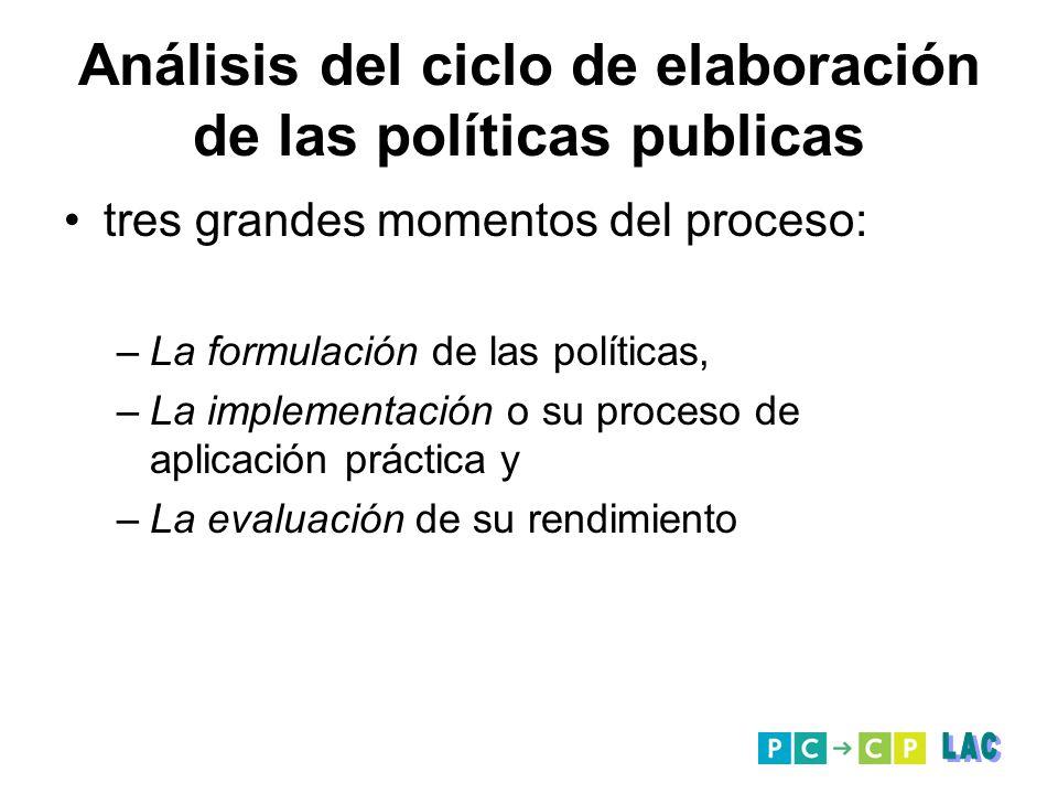 Análisis del ciclo de elaboración de las políticas publicas tres grandes momentos del proceso: –La formulación de las políticas, –La implementación o