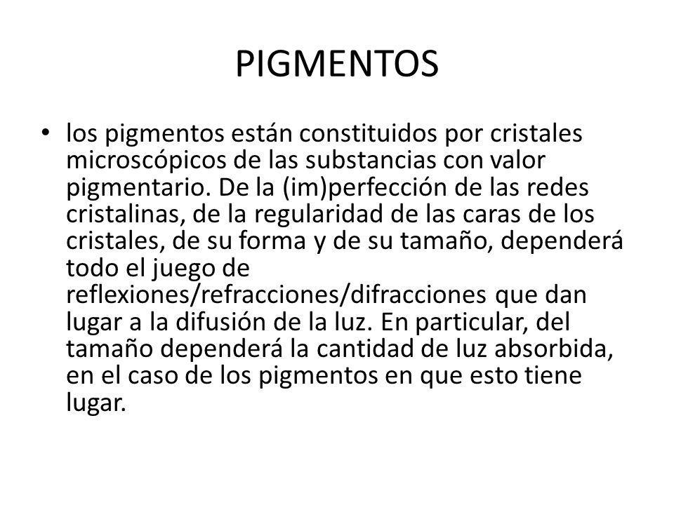 PIGMENTOS los pigmentos están constituidos por cristales microscópicos de las substancias con valor pigmentario.