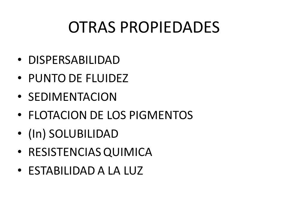 OTRAS PROPIEDADES DISPERSABILIDAD PUNTO DE FLUIDEZ SEDIMENTACION FLOTACION DE LOS PIGMENTOS (In) SOLUBILIDAD RESISTENCIAS QUIMICA ESTABILIDAD A LA LUZ