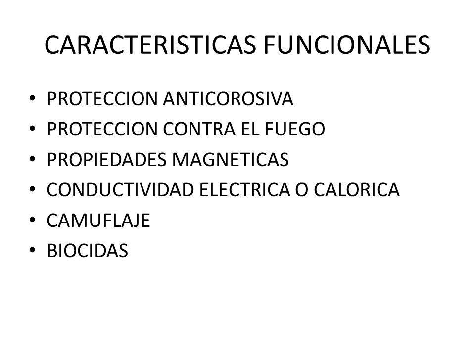 CARACTERISTICAS FUNCIONALES PROTECCION ANTICOROSIVA PROTECCION CONTRA EL FUEGO PROPIEDADES MAGNETICAS CONDUCTIVIDAD ELECTRICA O CALORICA CAMUFLAJE BIOCIDAS