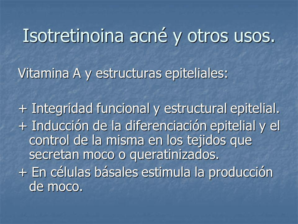 Isotretinoina acné y otros usos.Dosificación: Varia de 0.1 mg/kg de peso/ día.