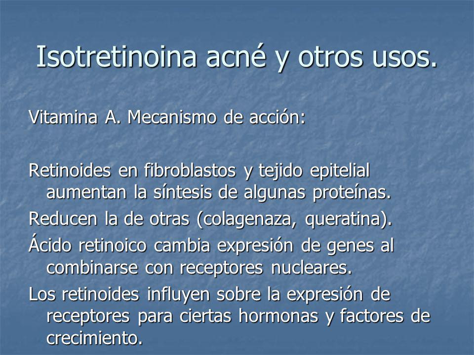 Isotretinoina acné y otros usos.Vitamina A. Síntomas de deficiencia.