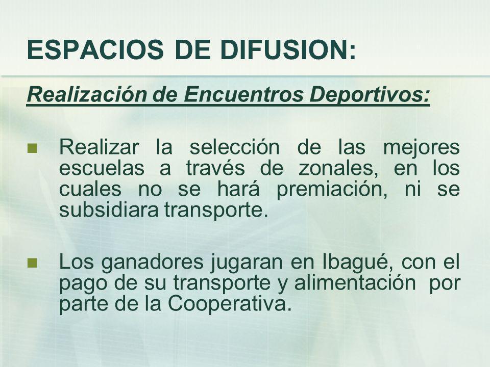 ESPACIOS DE DIFUSION: Realización de Encuentros Deportivos: Realizar la selección de las mejores escuelas a través de zonales, en los cuales no se hará premiación, ni se subsidiara transporte.