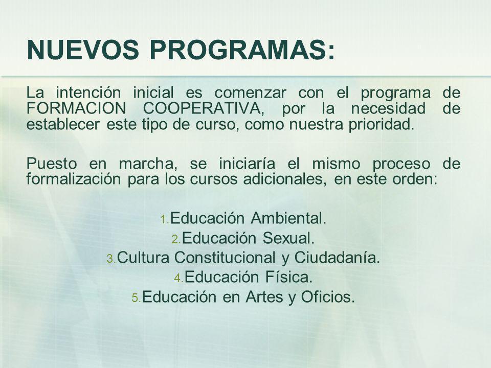NUEVOS PROGRAMAS: La intención inicial es comenzar con el programa de FORMACION COOPERATIVA, por la necesidad de establecer este tipo de curso, como nuestra prioridad.
