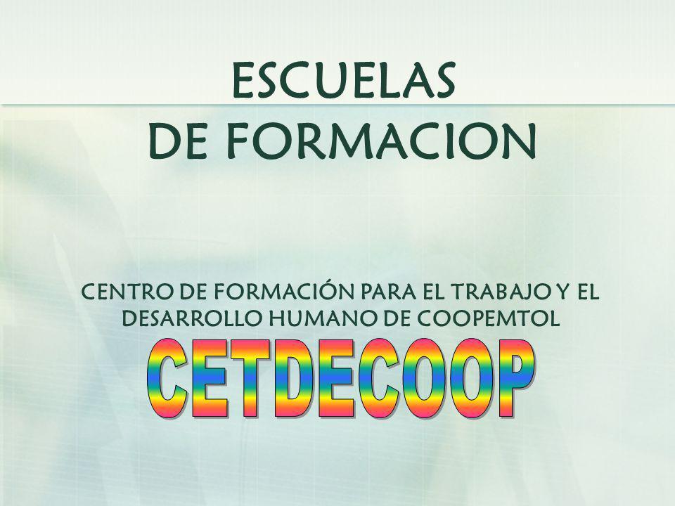 ESCUELAS DE FORMACION CENTRO DE FORMACIÓN PARA EL TRABAJO Y EL DESARROLLO HUMANO DE COOPEMTOL