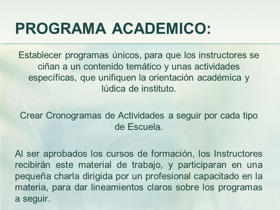 PROGRAMA ACADEMICO: Establecer programas únicos, para que los instructores se ciñan a un contenido temático y unas actividades específicas, que unifiquen la orientación académica y lúdica de instituto.