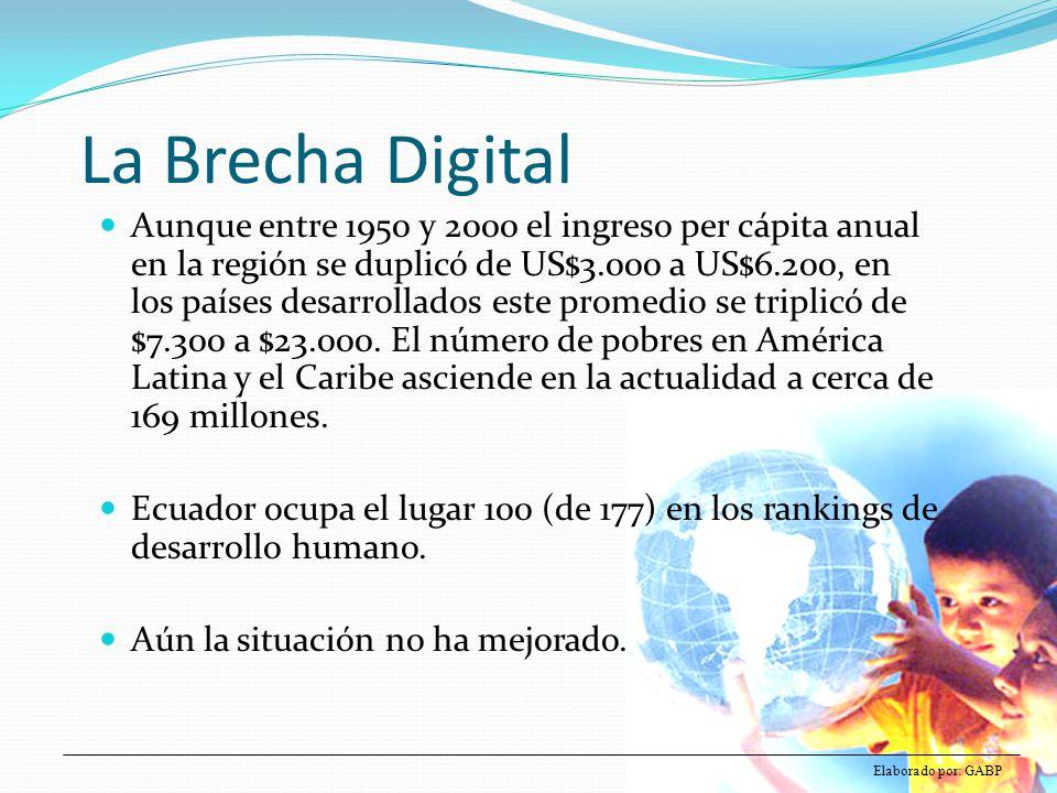 La Brecha Digital Aunque entre 1950 y 2000 el ingreso per cápita anual en la región se duplicó de US$3.000 a US$6.200, en los países desarrollados est