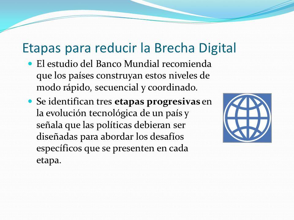 Etapas para reducir la Brecha Digital El estudio del Banco Mundial recomienda que los países construyan estos niveles de modo rápido, secuencial y coo