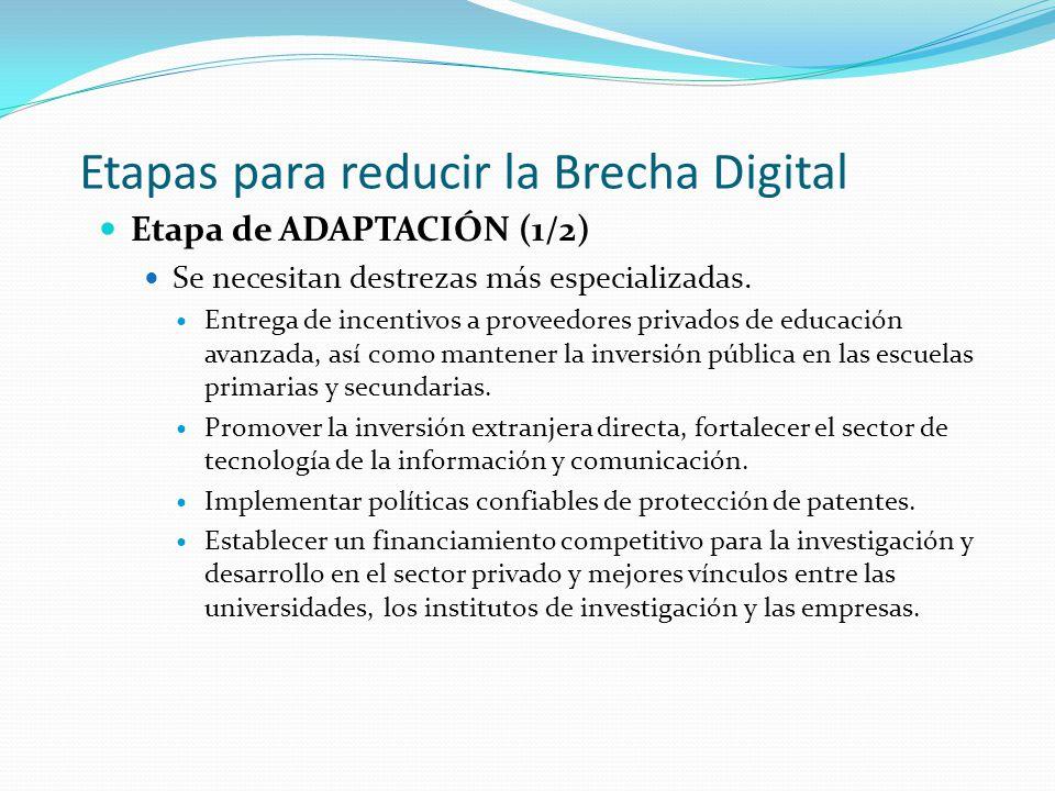 Etapas para reducir la Brecha Digital Etapa de ADAPTACIÓN (1/2) Se necesitan destrezas más especializadas. Entrega de incentivos a proveedores privado