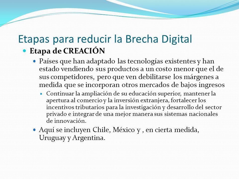 Etapas para reducir la Brecha Digital Etapa de CREACIÓN Países que han adaptado las tecnologías existentes y han estado vendiendo sus productos a un c