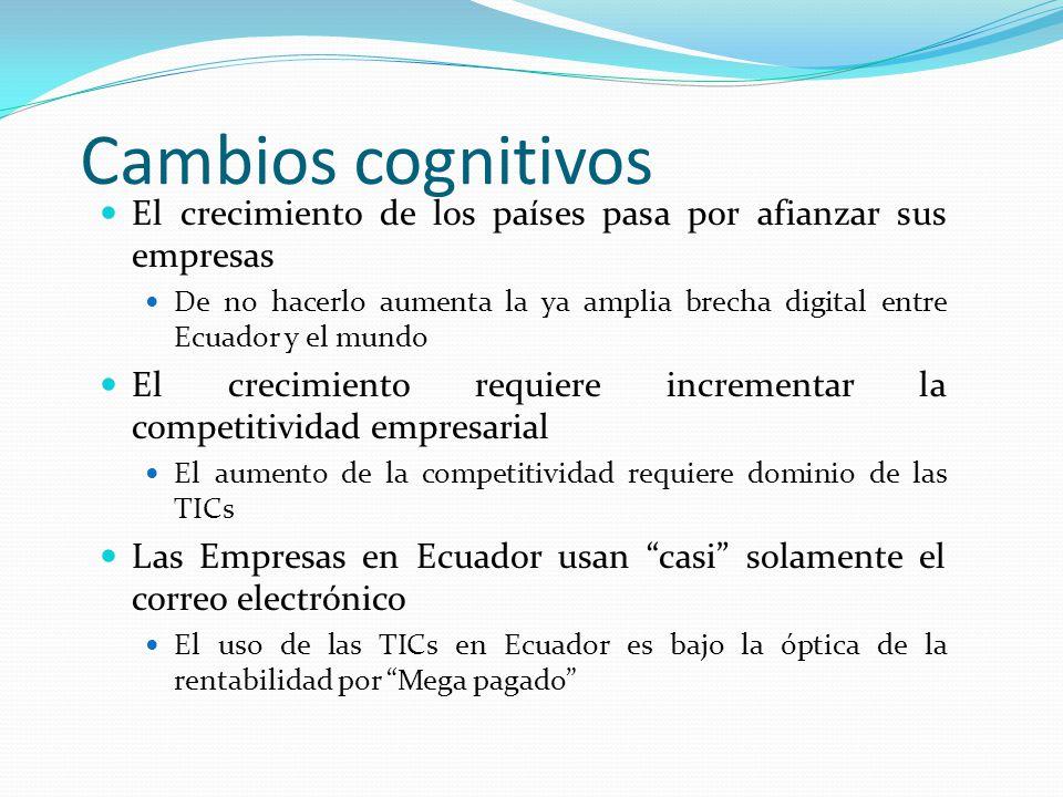 Cambios cognitivos El crecimiento de los países pasa por afianzar sus empresas De no hacerlo aumenta la ya amplia brecha digital entre Ecuador y el mu