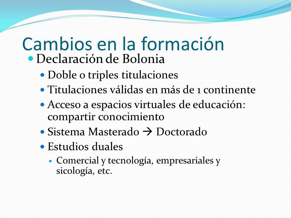 Cambios en la formación Declaración de Bolonia Doble o triples titulaciones Titulaciones válidas en más de 1 continente Acceso a espacios virtuales de