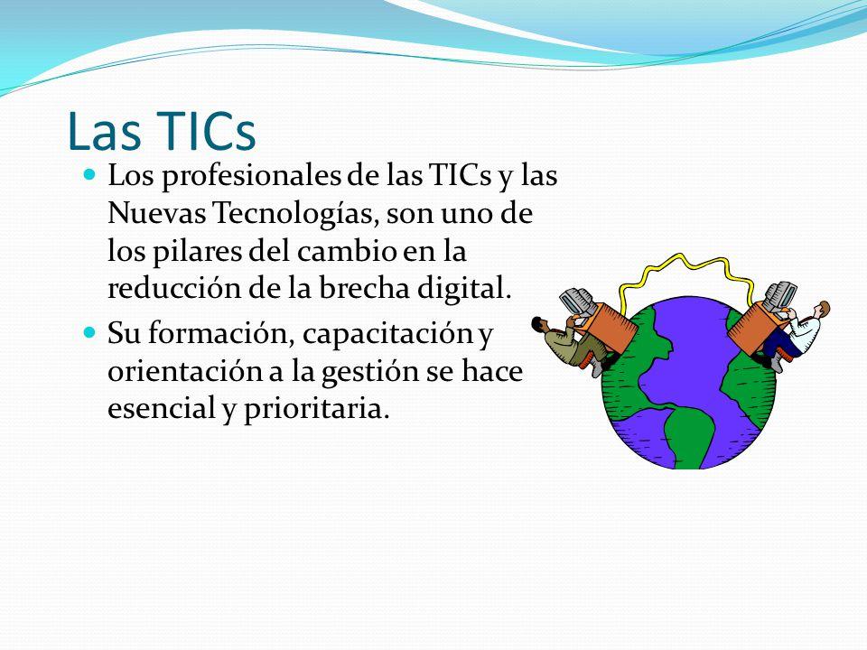 Las TICs Los profesionales de las TICs y las Nuevas Tecnologías, son uno de los pilares del cambio en la reducción de la brecha digital. Su formación,