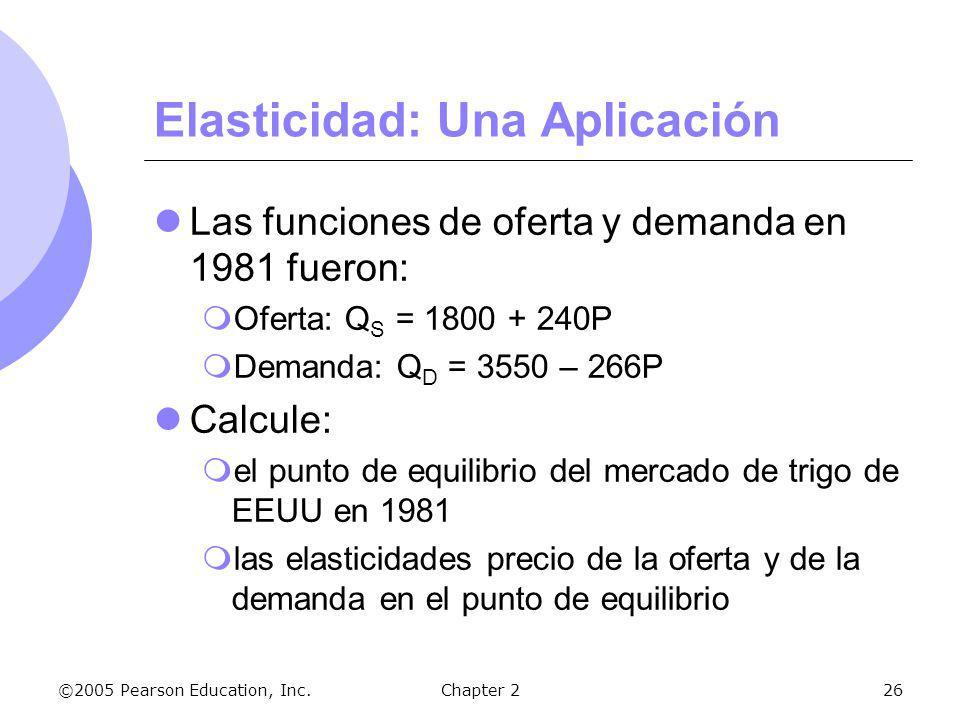 ©2005 Pearson Education, Inc.Chapter 226 Elasticidad: Una Aplicación Las funciones de oferta y demanda en 1981 fueron: Oferta: Q S = 1800 + 240P Deman