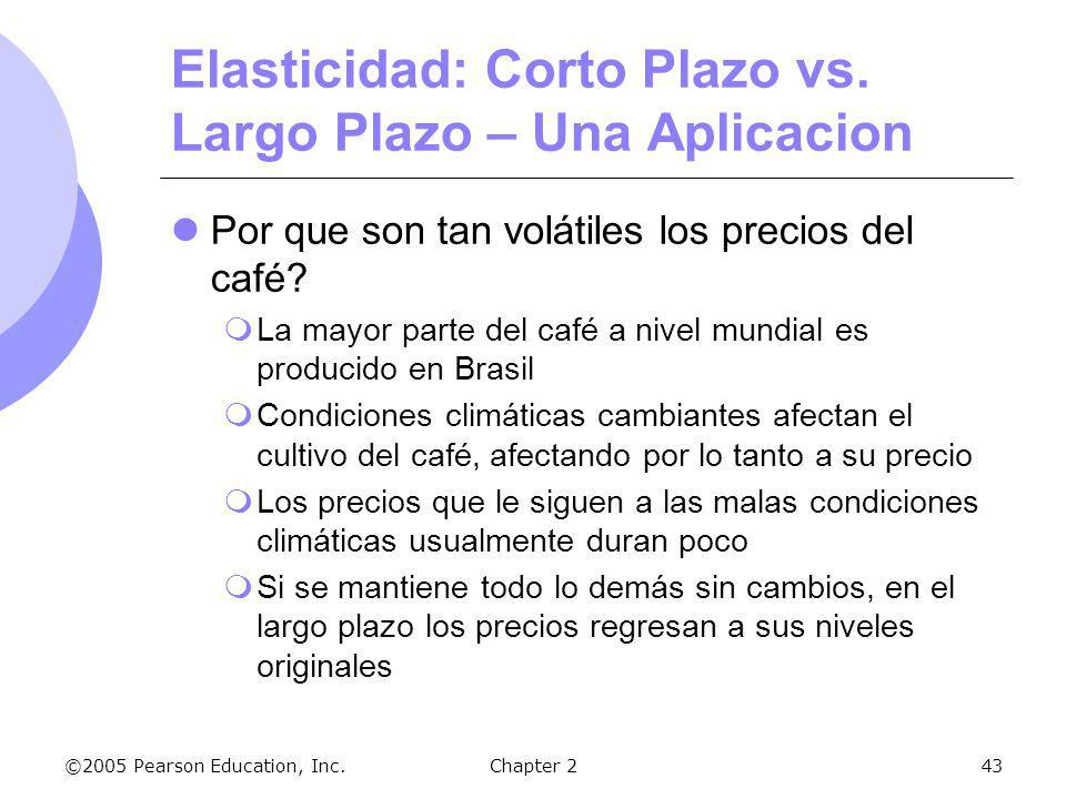 ©2005 Pearson Education, Inc.Chapter 243 Elasticidad: Corto Plazo vs. Largo Plazo – Una Aplicacion Por que son tan volátiles los precios del café? La