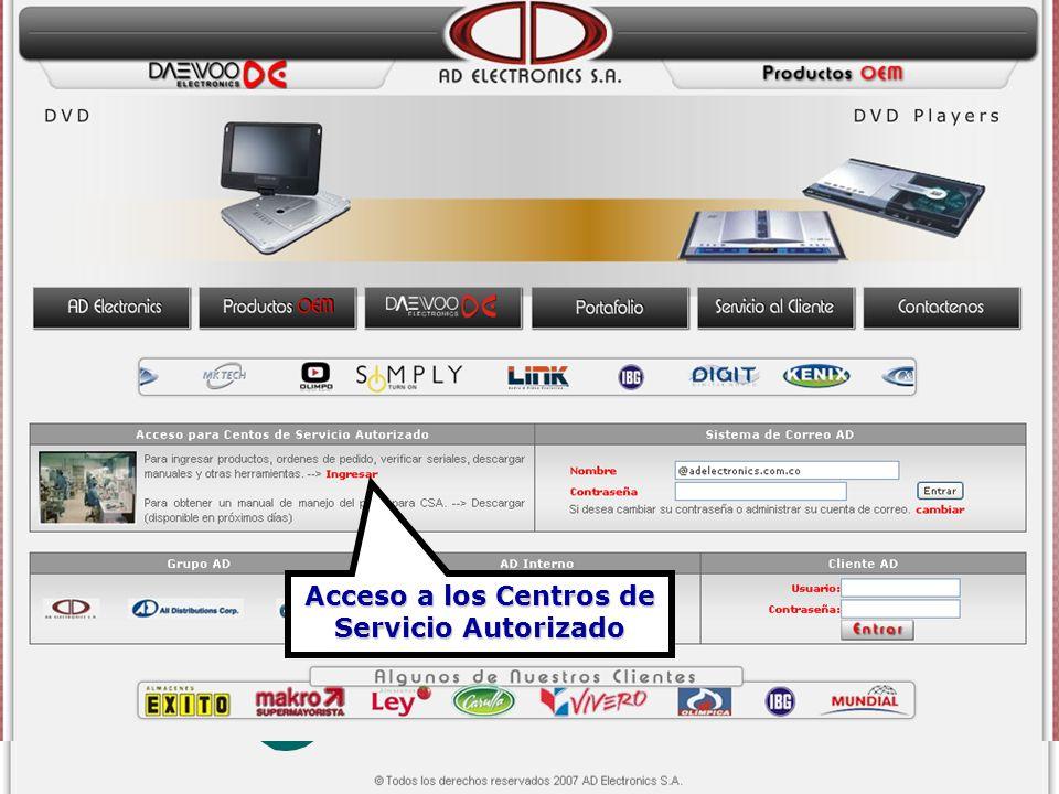 Acceso a los Centros de Servicio Autorizado