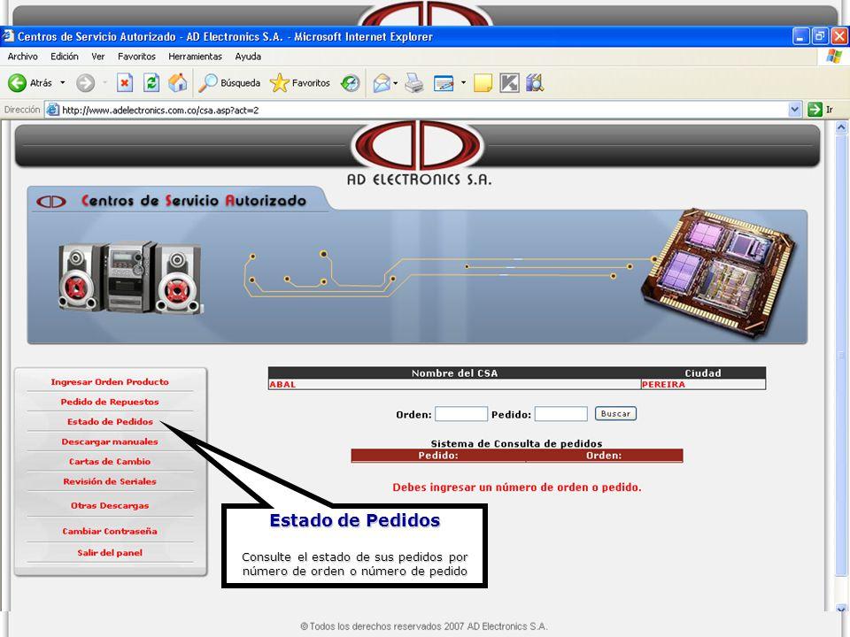 Descarga de Manuales Ésta opción permitirá descargar los manuales de usuario o de servicio, Software, etc para un producto de AD Electronics S.A.