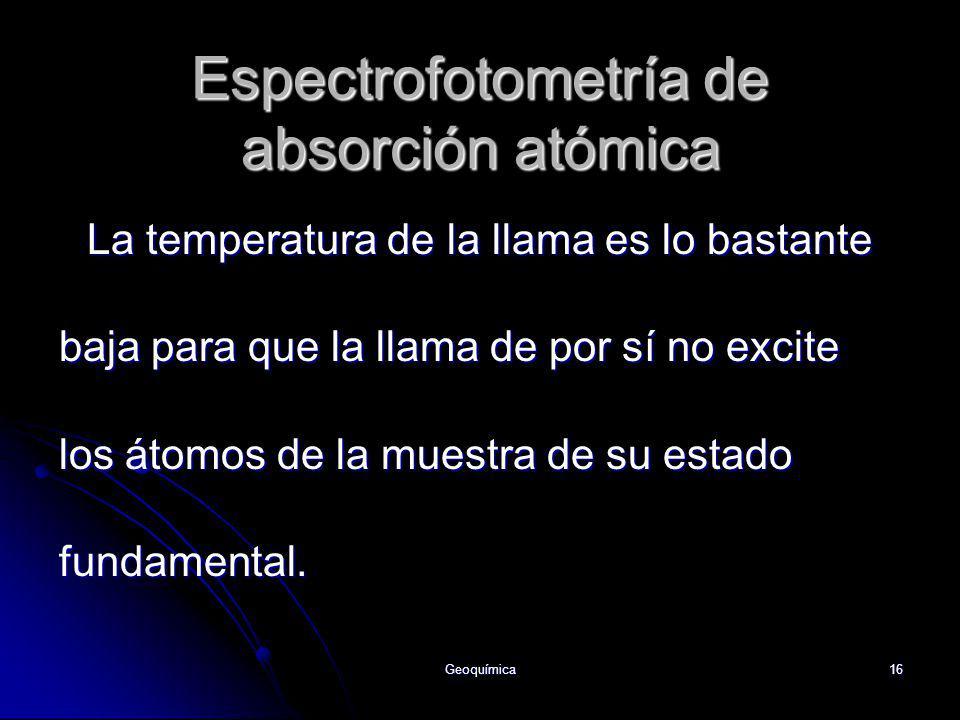 Geoquímica16 La temperatura de la llama es lo bastante baja para que la llama de por sí no excite los átomos de la muestra de su estado fundamental. E