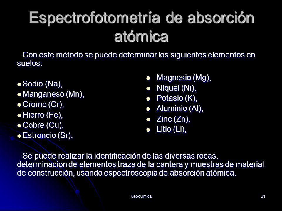 Geoquímica21 Espectrofotometría de absorción atómica Con este método se puede determinar los siguientes elementos en suelos: Sodio (Na), Sodio (Na), M