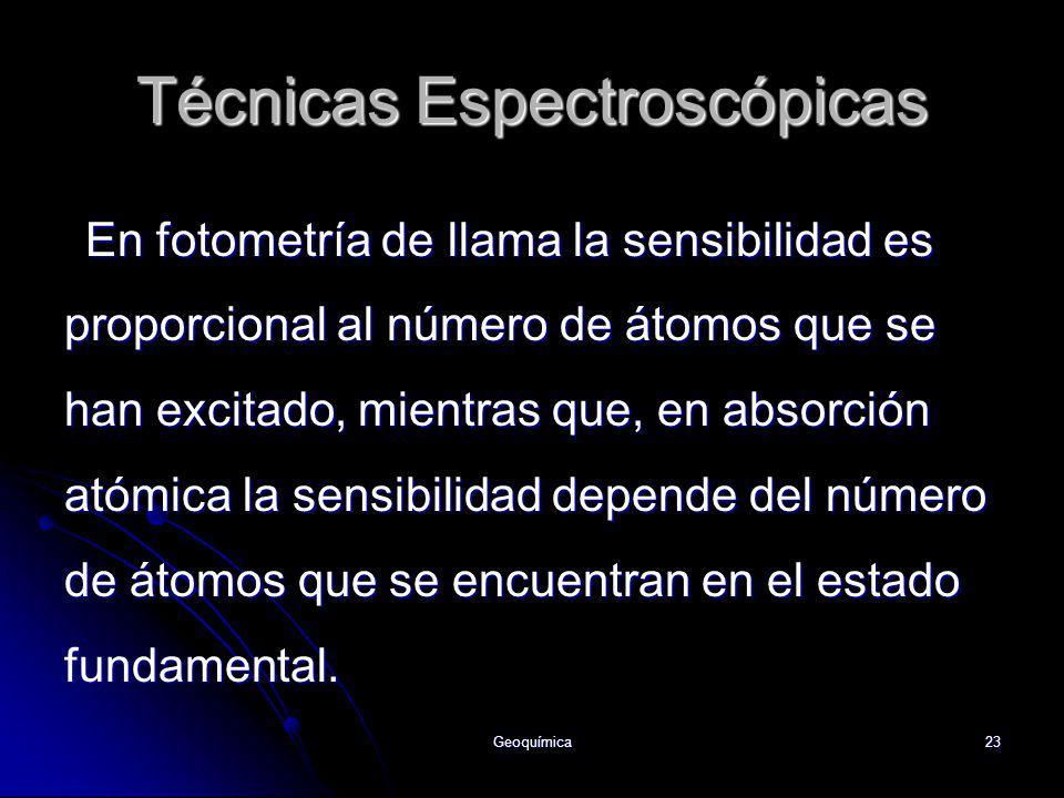 Geoquímica23 Técnicas Espectroscópicas En fotometría de llama la sensibilidad es proporcional al número de átomos que se han excitado, mientras que, e