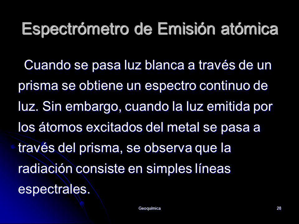 Geoquímica28 Cuando se pasa luz blanca a través de un prisma se obtiene un espectro continuo de luz. Sin embargo, cuando la luz emitida por los átomos