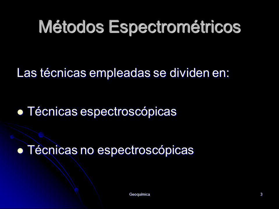 Geoquímica3 Las técnicas empleadas se dividen en: Técnicas espectroscópicas Técnicas espectroscópicas Técnicas no espectroscópicas Técnicas no espectr
