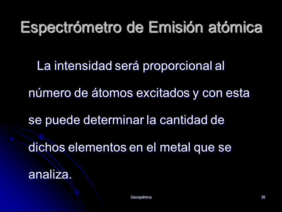 Geoquímica30 La intensidad será proporcional al número de átomos excitados y con esta se puede determinar la cantidad de dichos elementos en el metal