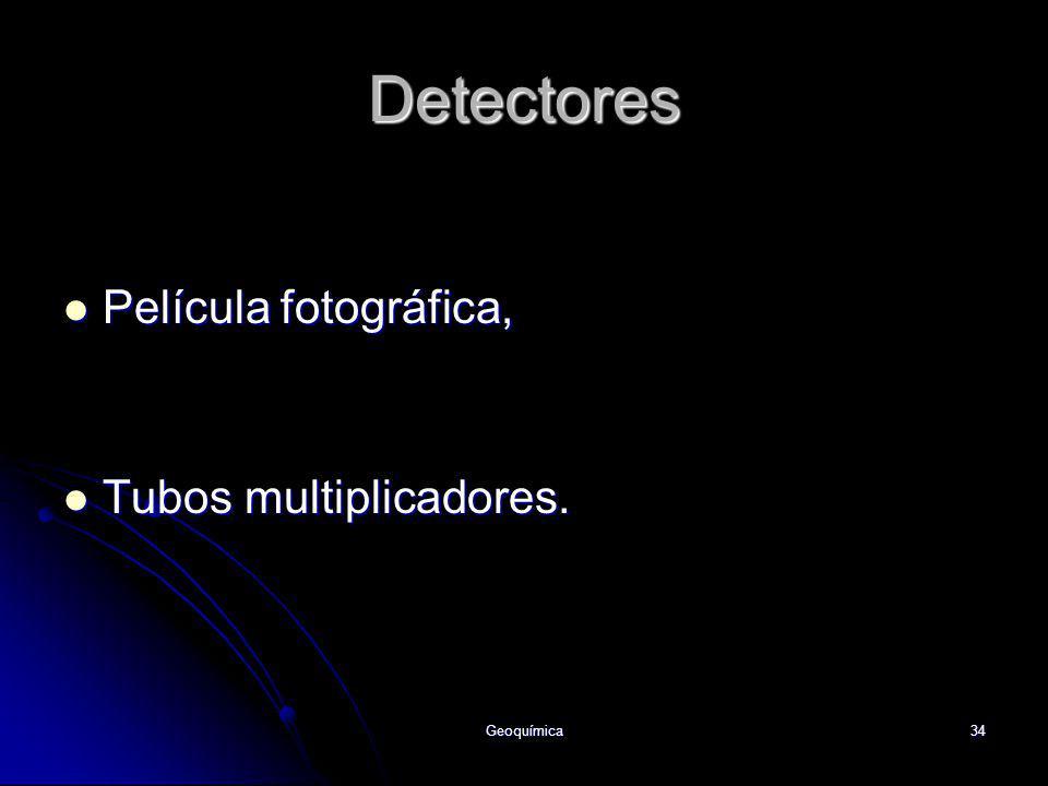 Geoquímica34 Detectores Película fotográfica, Película fotográfica, Tubos multiplicadores. Tubos multiplicadores.