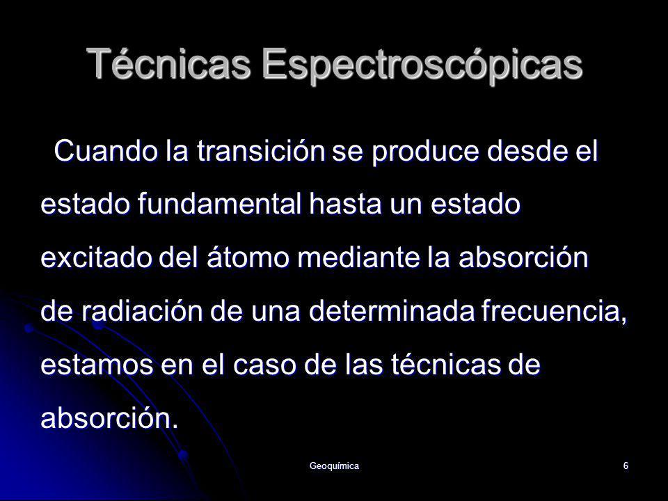Geoquímica6 Cuando la transición se produce desde el estado fundamental hasta un estado excitado del átomo mediante la absorción de radiación de una d