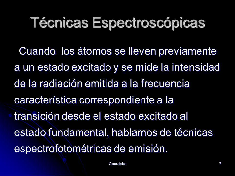 Geoquímica7 Cuando los átomos se lleven previamente a un estado excitado y se mide la intensidad de la radiación emitida a la frecuencia característic