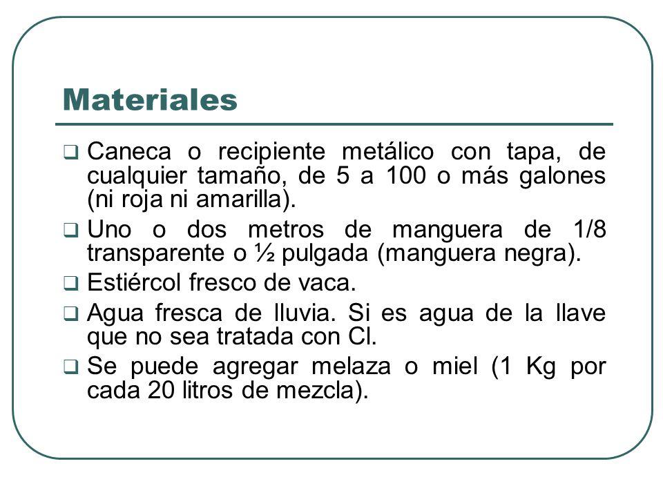 Materiales Caneca o recipiente metálico con tapa, de cualquier tamaño, de 5 a 100 o más galones (ni roja ni amarilla). Uno o dos metros de manguera de