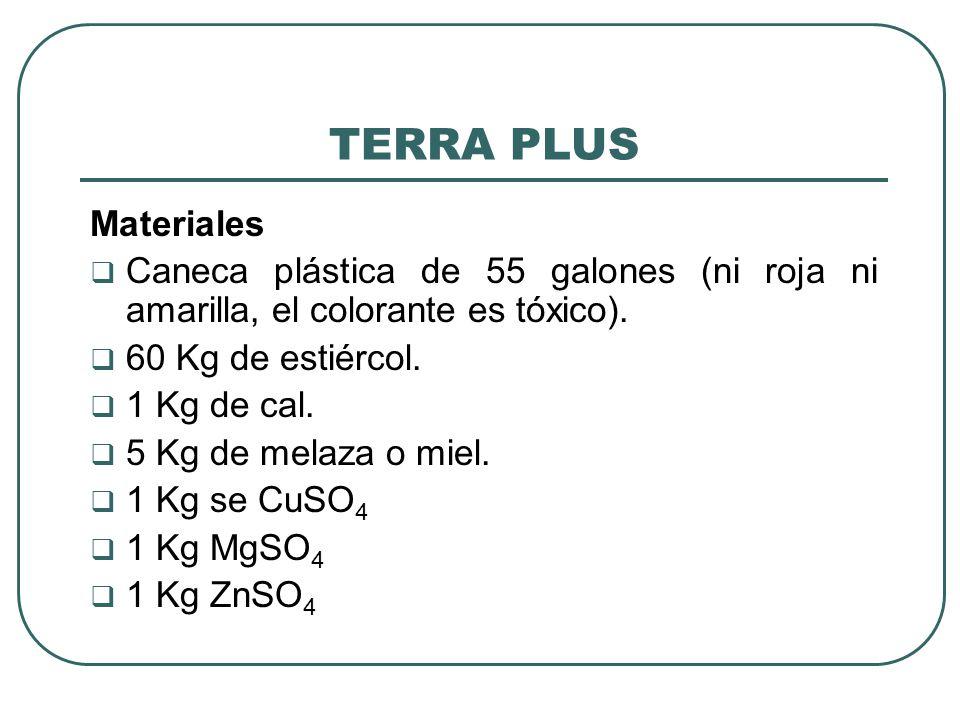 TERRA PLUS Materiales Caneca plástica de 55 galones (ni roja ni amarilla, el colorante es tóxico). 60 Kg de estiércol. 1 Kg de cal. 5 Kg de melaza o m