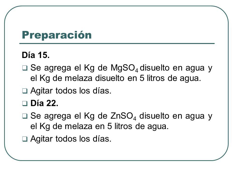 Preparación Día 15. Se agrega el Kg de MgSO 4 disuelto en agua y el Kg de melaza disuelto en 5 litros de agua. Agitar todos los días. Día 22. Se agreg